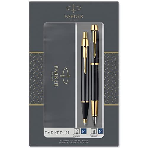 Parker IM set de regalo doble con bolígrafo y pluma estilográfica, acabado negro con adorno dorado, cartucho y recambio de tinta azul, estuche de regalo