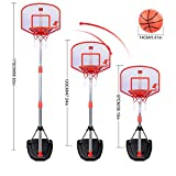 Dshot【電子スコアリング】キッド バスケットボール バスケットゴール 練習用 バックボードセット ミニバス 97-170cm 高さ調節可能 取り外し可能 子供のため 中庭/公園