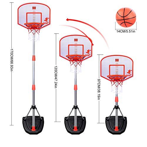 ColiCor Aro de Baloncesto para niños 97-170 CM Canasta Aro de Baloncesto Ajustable con Baloncesto Dispositivo de puntuación y inflador