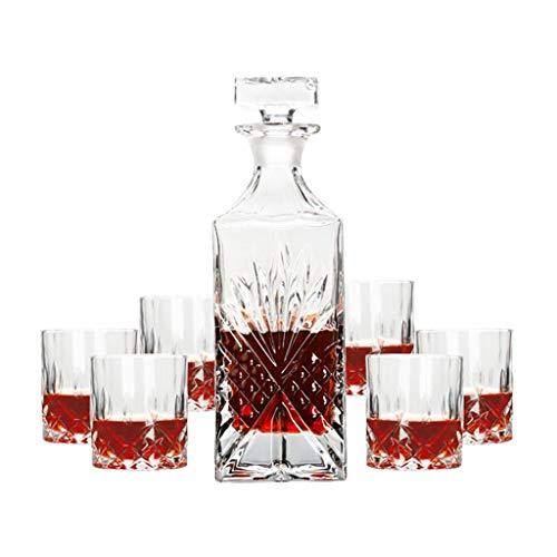 Set de Verres à Whisky avec Carafe à Décanter et Bouchon - Verre en Cristal - Bouteille de Whisky 800ml avec 6 Verres à Whiskey 200ml - 7 Pièces