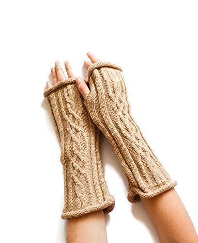 Beige fingerless gloves Beige wrist warmers Knit arm warmers Hand knit fingerless gloves Cable knit gloves Winter gloves Warmer gloves Winter gift for woman