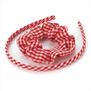 Girls Red Gingham Headband/ Alice Band & Hair Scrunchie Set by Chelsea Jones