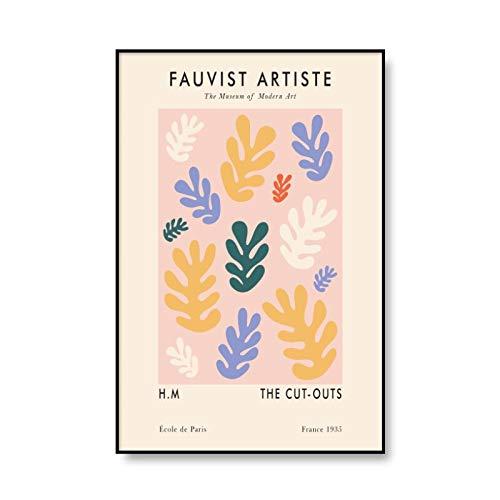 Moda hoja abstracta Henry Matisse cartel de la planta impresión de la línea de la pared arte pintura familia sin marco pintura de la lona A3 30x40cm