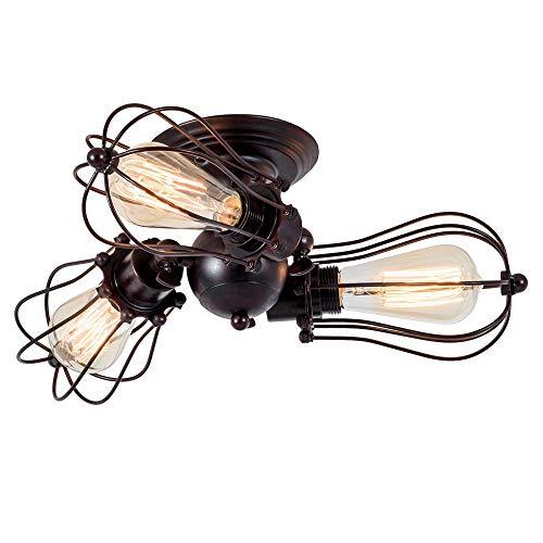 Lámpara de techo Vintage Enchufe Industrial Ajustable Lámpara de Jaula de Alambre Metálico de Montaje Semi-Empotrado Rústica de Metal (sin bombilla) (con 3 bombillas) (Óxido)