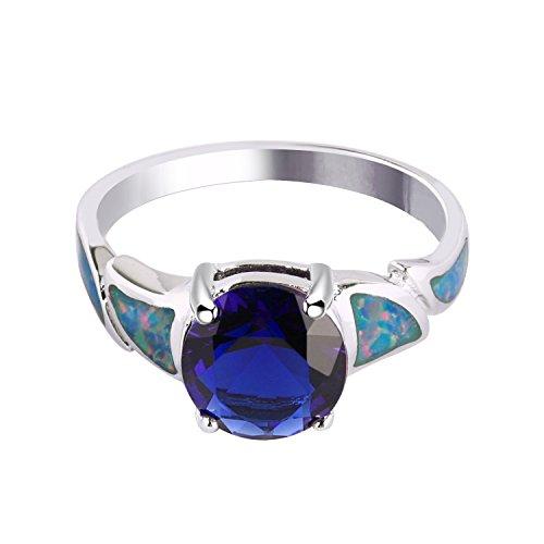 KELITCH Ringe für Frauen Mädchen Klassischer Imperial Crown Satcking Ring Versilberter Schmuck mit feuerblauem Opal 3D-7