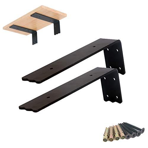 YAUI 2 Stks Shelf Brackets - Heavy Duty Metal Rustic Boerderij Wandplank Beugel voor DIY Drijvende Plank - Industriële Wandbeugel voor Planken, Zwart