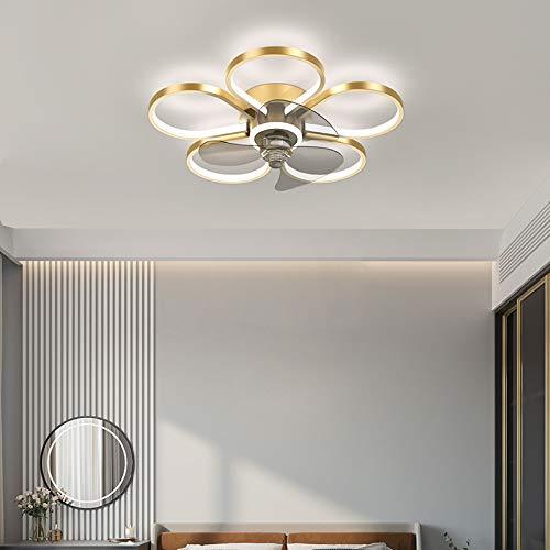 MZT Ventilador de luz en Forma de Flor Luz de Ventilador de Techo con Control Remoto Ventilador de Techo LED Luz de Techo Ventilador silencioso de 6 velocidades con luz,Oro