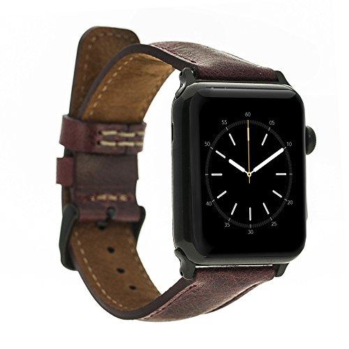 Renna - Pulsera de piel auténtica compatible con Apple Watch Serie SE, 6 y 5/4/3/2/1, hecha a mano, 44 mm, 42 mm, 40 mm, 38 mm, para hombre y mujer (38-40 mm, burdeos, conector azul)
