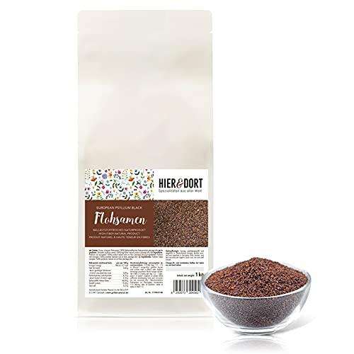 Graines de psyllium européennes, 1 kg, ici & lot, noir, riche en fibres, haute quantité de source | qualité contrôlée | sans allergènes | sans gluten | végétalien