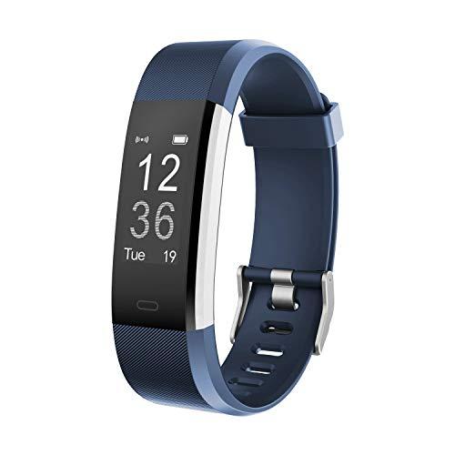 moreFit Fitness Tracker, Slim HR Plus Heart Rate Smart Bracelet Pedometer Wearable Waterproof Activity Tracker Watch, Silver/Blue