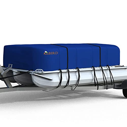 """KING BIRD Heavy Duty Pontoon Boat Cover, 600D Anti-Fade Marine Grade Oxford, Fits 17-20FT Long & Beam Width up to 102"""" - Waterproof Trailerable UV Resistant with Adjustable 2 Tie-Down Straps"""