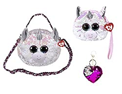 Diamond Changing Glitzy Sequins Plush Purse With Keychain