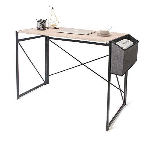 Todeco - Mesa de escritorio con funda de almacenamiento, escritorio plegable, escritorio de trabajo de estilo industrial, no requiere instalación, color marrón claro