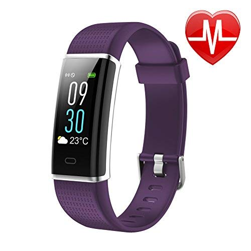 """Letsfit Waterproof Fitness Tracker with Heart Rate Monitor, Color Screen Fitness Watch, Smart Bracelet with Sleep Monitor, Step Counter, Pedometer Watch for Kids Women and Men, 0.96"""" Screen, Purple"""