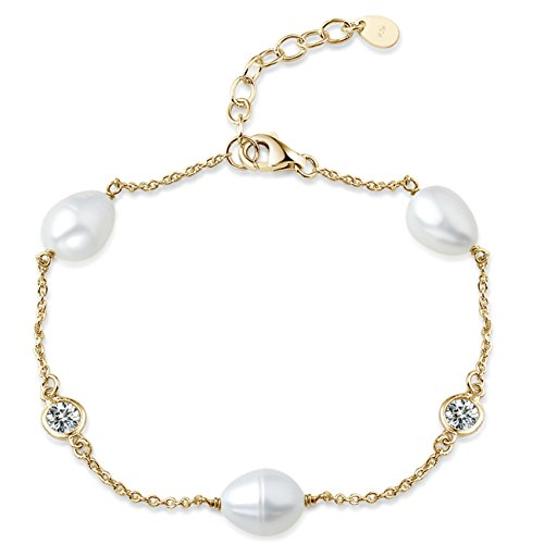 YAN & LEI Sterling Silver Cubic Zirconia CZ Pearl Station Bracelet Color Golden