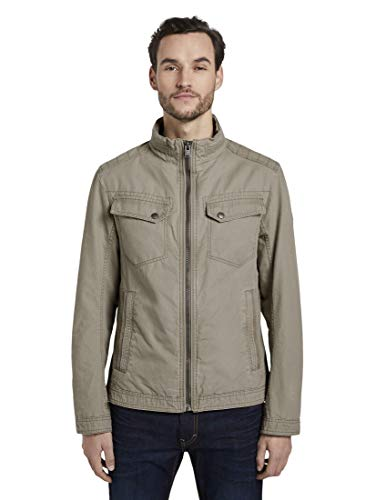 TOM TAILOR Casual Cotton Touch Jacke Herren, Beige (Coastal Fog Beige), L