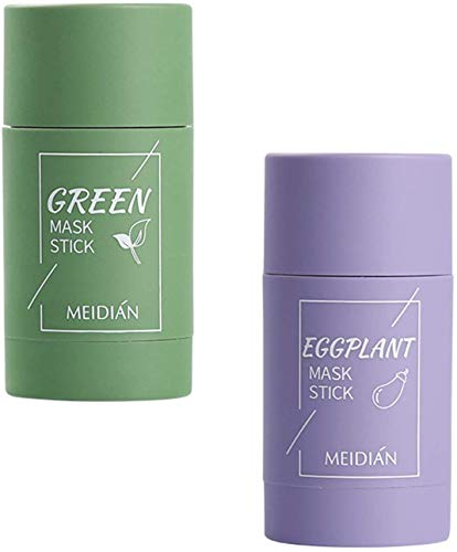 Wcjing Green Tea Purifying Clay Face Mask Stick Deep Cleansing Oil Control Anti-Acne Solid Mask, Eggplant Hydrating Blackhead Remover Facial Mask Repair and Shrink Pores (Green Tea + Eggplant)