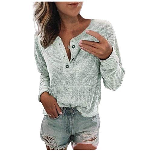 Tsmile Damen Pullover mit Knopfleiste und Rundhalsausschnitt, lange Ärmel, Bluse mit Tasche, Damen, grau, Large
