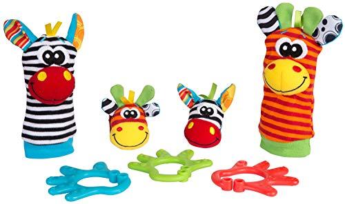 Playgro Geschenkset Dschungelfreunde, 7-teilig, Mit Hand- und Fußgelenksrasseln, Ab 0 Monaten, Mehrfarbig, 40190