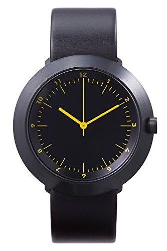 Normal Timepieces Fuji Acero IP Negro Ambar Unisex Cuero Reloj
