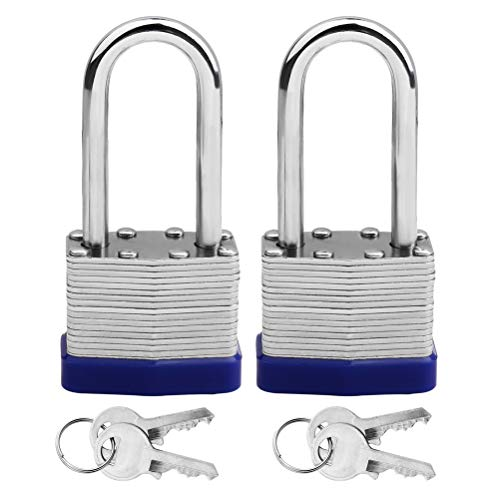 kuou 2 Pack Padlocks with Keys, Shackle Padlocks Long Lock with Keys Heavy Duty Key Padlock Weatherproof Locks for Garden Shed Garage