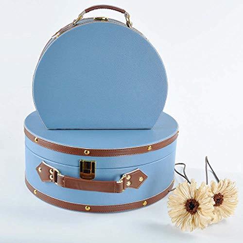 KK Zachary Nordic Fashion - Maleta de piel semicircular para porche de almacenamiento, acabado de la caja de escritorio, modelo de habitación, decoración suave, adorno azul cielo L, S (tamaño: S)