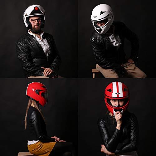 MOTO F19 Gloss Black · Roller-Helm Integral-Helm Helmet Cruiser Klapp-Helm Modular-Helm Motorrad-Helm Scooter-Helm Sturz-Helm Flip-Up-Helm · ECE zertifiziert · zwei Visiere · inkl. Stofftragetasche · Schwarz · L (59-60cm) - 7