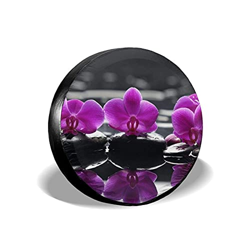 QQIAEJIA Cubierta Universal para llanta de Repuesto Calm Orchid Flower Purple Tire Protector Universal Fits for Motorhome Camper Travel Trailer Truck SUV Impermeable Polyester Wheel Protector