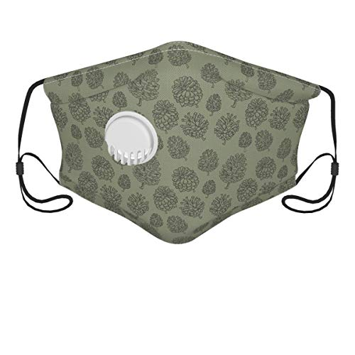 NANITHG Face Cover,Plants Woodland Conifer Organic Herbal Treatment On Polka Dots Zen Boho,Balaclava Unisex Reusable Windproof Anti Dust Mouth Bandanas Outdoor Camping Motorcycle Running Neck Gaiter