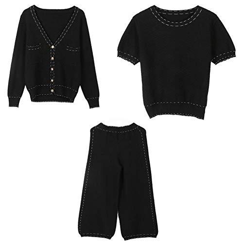 Thumby Elegant Casual Coltrui met korte mouwen lange mouwen vest + rechte broek Gebreide 3-delige set, zwart, s