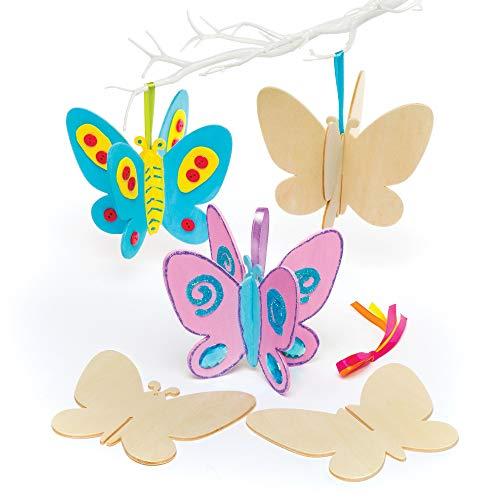 Baker Ross 3D-Schmetterlinge aus Holz für Kinder zum Basteln und Dekorieren – Kreatives Bastelset für Kinder (6 Stück)