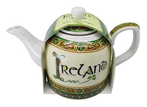 Royal Tara Irland Porzellanteekanne Keramik Teekanne Kleeblatt Keltischem Knoten | Tekessel aus New Bone China | H 12,5 cm B 20 cm Kapazität 0,65 lt