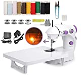 Electric Mini Sewing Machine Portable Sewing Machine with Extension Table Foot...