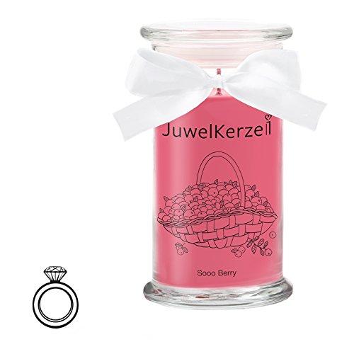 JuwelKerze Sooo Berry - Kerze im Glas mit Schmuck - Große rote Duftkerze mit Überraschung als Geschenk für Sie (Silber Ring, Brenndauer : 90-125 Stunden)