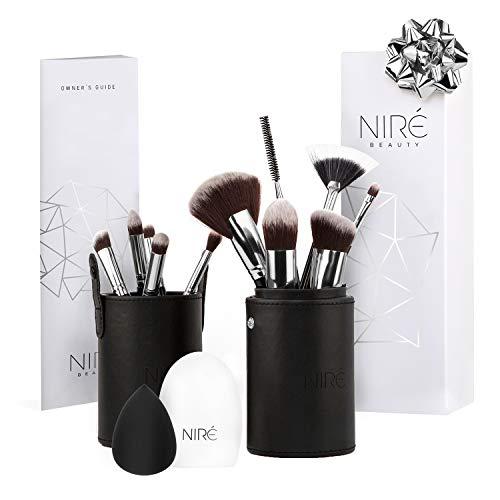 Niré Beauty Contouring, Highlighter & Concealer Pinselset mit Niré Beauty Blender, Pinselreiniger und Make-up-Pinselhalter