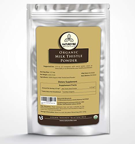 Naturevibe Botanicals Milk Thistle Seed Powder, 1lb   Non-GMO and Kosher   Silybum marianum (16 Ounces)