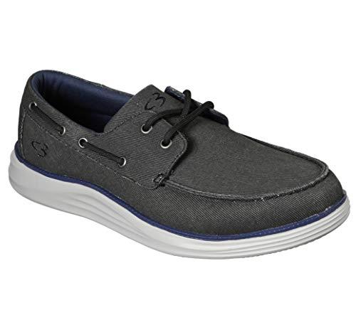 Concept 3 by Skechers Men's Igler Canvas Slip-on Boat Shoe Sneaker, Black, 9.5 Medium US