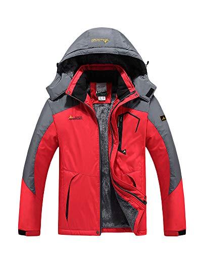 Yonglan Herren/Damen Softshell Jacke Funktionsjacke Übergangsjacke Mit Abnehmbarer Kapuze Und Fleece-Futter Rot XL