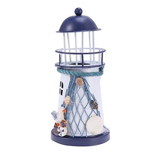 VOSAREA Windlichthalter Vintage Eisen Leuchtturm Modell mit Vogel Fischnetze LED Dekorative Kerzenlaternen Kerzenständer Nautische Maritime Deko (Blau und Weiß)
