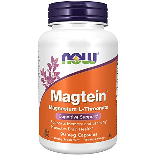 NOW Supplements, Magtein™ with patented form of Magnesium (Mg), Cognitive Support*, 90 Veg Capsules