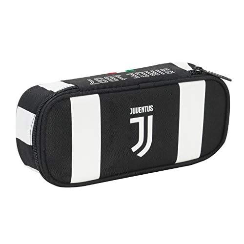 Bustina Round Plus Juventus Coaches, Bianco & Nero, Scomparto Interno Portapenne, 23 cm