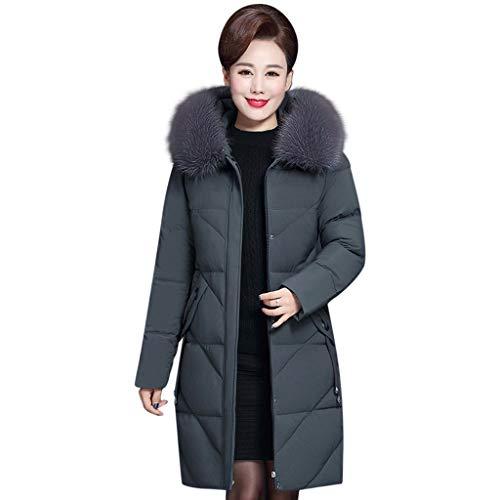 Manteau Femme Grand Taille Fourrure avec Capuche Hiver Chaud Long Elegant Manche Longues Mode Pas Cher Veste en Coton Hoodies Trench Coat