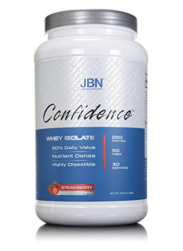Confidence by JBN 100% Whey Isolate Protein Powder Mix With 5 Grams of Dietary Fiber - Great Tasting - Easily Digestible - High Purity & Potency - Great For Weight Management (Strawberry, 30 servings)