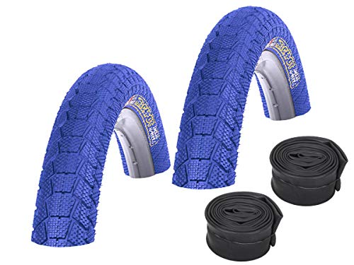 KENDA Set: 2 x Fahrrad BMX Reifen farbig K907 Krackpot BLAU 20x1.95 + 2 SCHLÄUCHE Autoventil