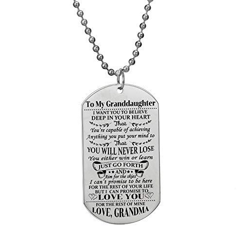 BESPMOSP to My Granddaughter Pendant Necklace Inspirational I Want You Believe Love Grandma Dog Tags Military Christmas Jewelry Birthday Graduation