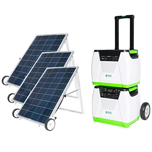 Nature's Generator 1800W Solar Powered Generator, 3 Solar Panel+ 1 Generator+1 Power...