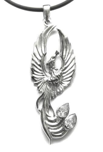 Anhänger Phönix Feuervogel mit 2 Zirkonia 925 Sterling Silber