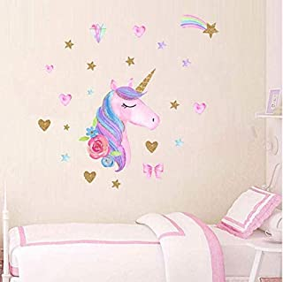 AIYANG Unicorn Wall Decals Rainbow Colors Unicorn Wall Stickers Golden Stars Love Heart Wall Stickers for Kid's Baby Girl Bedroom Playroom Decor (White,Gold)