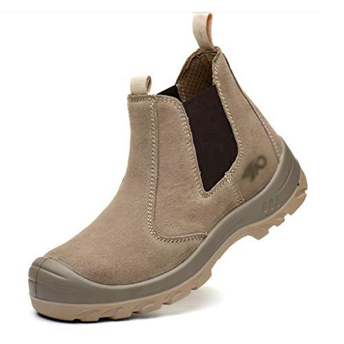 Zapatos de seguridad Zapatos Soldador de protección de cuero for caballeros |Botas de seguridad del distribuidor |Alto-top de los zapatos antideslizante trabajo intermitente, con puntera de acero casq 🔥