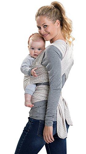 manduca Sling > Elastisches Babytragetuch mit GOTS Zertifikat < für Neugeborene ab Geburt (WildCrosses sand, 5,10m x 0,60m)